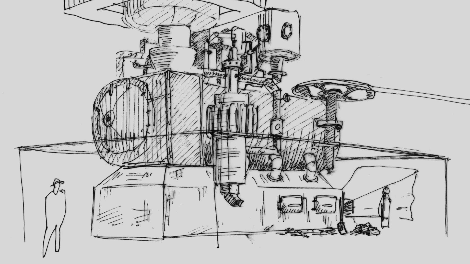 Konzeptzeichnung der Maschine