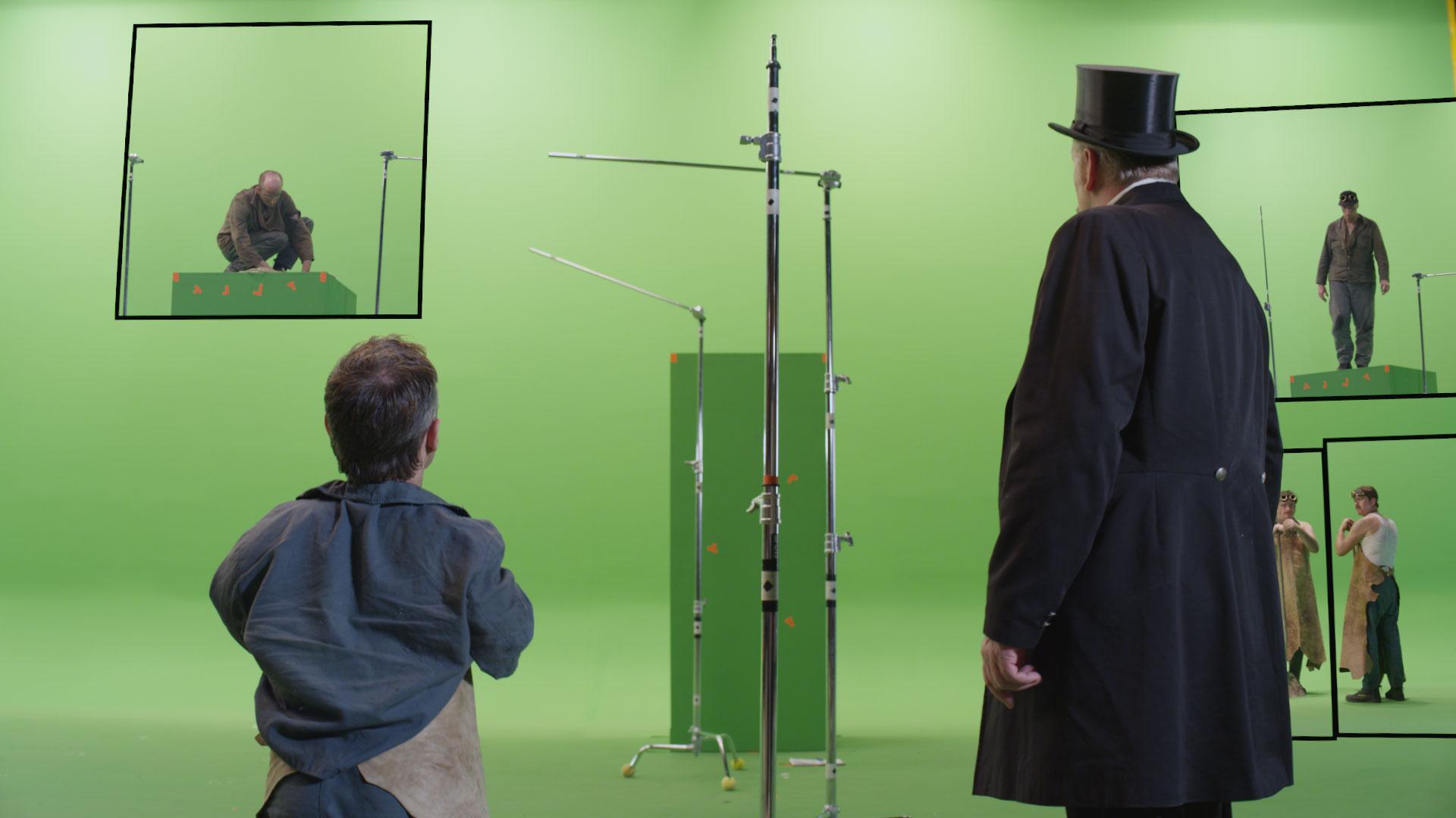 Aufnahme der Schauspieler im Studio